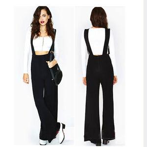 NWT womens Wide leg pants black high waist Suspenders trousers ...