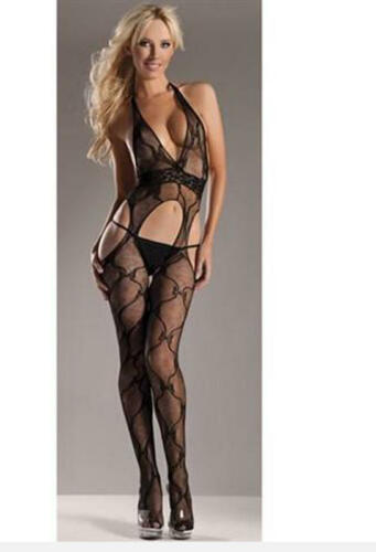 Be Wicked One Size Black Lace Halter Suspender Body stocking Black