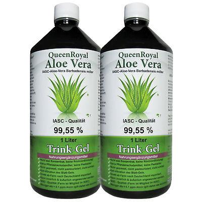 QueenRoyal Aloe Vera Trink Gel 99.55 % pur, IASC - Qualität, 2 Liter Sparpack