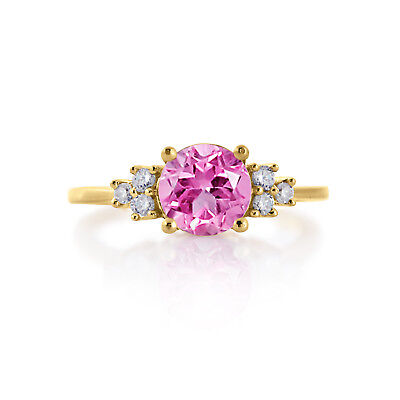 14K YELLOW GOLD FINISH STERLING SILVER 1.25 PINK FASHION ENGAGEMENT FANCY RINGS