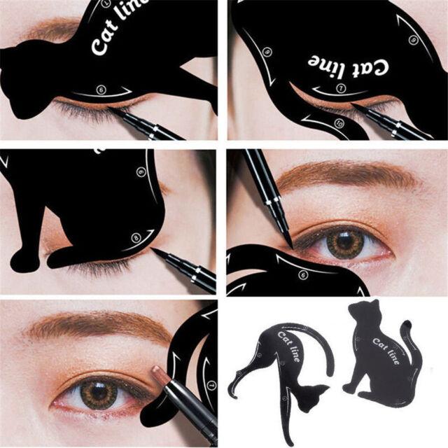 2Pcs Pro Women Cat Line Eye Makeup Tool Eyeliner Stencils Template Shaper Model