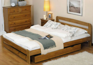 Wooden Bed Frame 160x200cm Large Double Full Oak Pinewood Couple