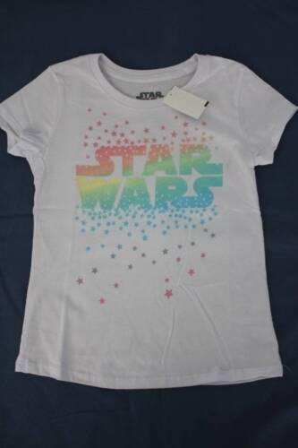 NUOVO Ragazze Grafica T-shirt taglia XS 4-5 White Star Wars GLITTER TOP Film Disney