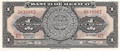 Mexico  1 Peso  10.5.1967  Series BCZ  Prefix U  Uncirculated Banknote