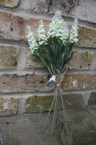 IVORY SILK LAVENDER FLOWER STEMS TIED BUNCH 6 x PALE CREAM
