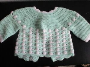 41bd97f45 Sweet Green White Crocheted Baby Sweater 0 - 3 mo. Ribbon Tie Boy or ...