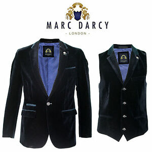 f1eafed3c7f4 Mens Marc Darcy Designer 2 Piece Navy Velvet Smart Formal Blazer ...