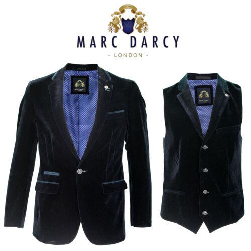 Da Uomo Designer Marc Darcy in velluto blu scuro 2 PEZZI Smart Formale Blazer Gilet Giubbotto