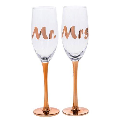 Or Rose Mme /& Mme Prosecco Flûtes à Champagne Mariage Cadeau Fête