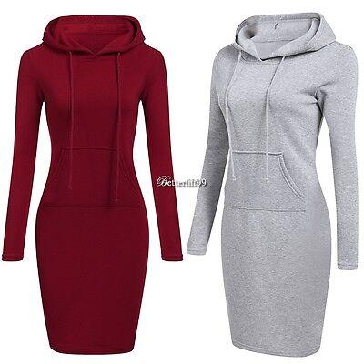 New Women Casual Dress Long Sleeve Hoodie Hooded Jumper Pockets Sweater Tops TYE