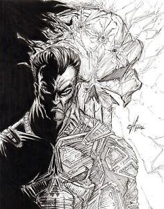 "Original, black & white, comic art, sketch, drawing, ""The Punisher"""