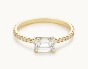 1.30 Ct Emerald Cut Genuine Moissanite Wedding Ring 14K Solid Yellow Gold Size 6