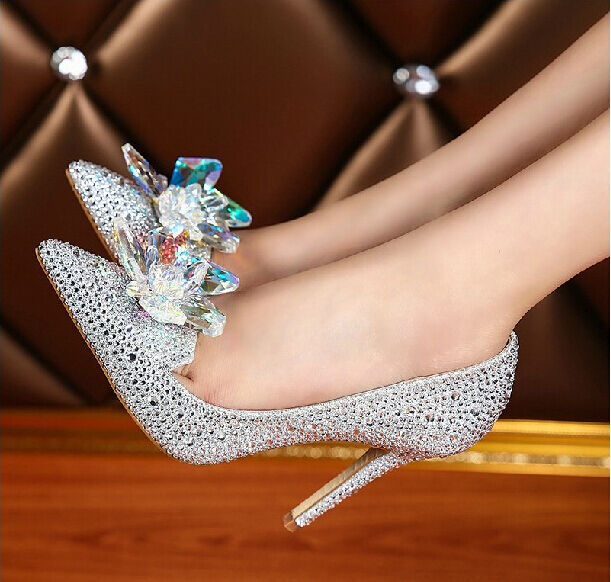 Womens diamond Shiny Crystal Pumps shoes Stilettos High Heels Lm14