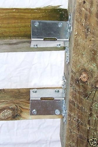 2  Super Strong Palisade Pallisade Fencing Brackets Square Rail Fence Wood Post