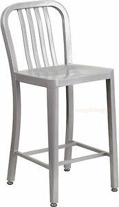 MID-CENTURY-SILVER-039-NAVY-039-STYLE-COUNTER-STOOL-CAFE-PATIO-CHAIR-IN-OUT-COMMERCIAL