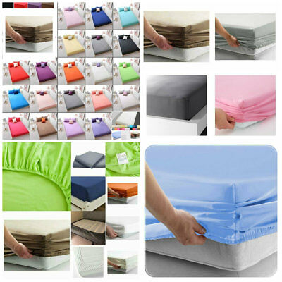 "Cotton All Colours Sizes Percale 25 cm//10/"" Box Fitted Sheets Single,Double,King"