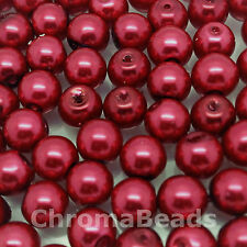 6mm Glass faux Pearls - Wine - 100 beads, jewellery making