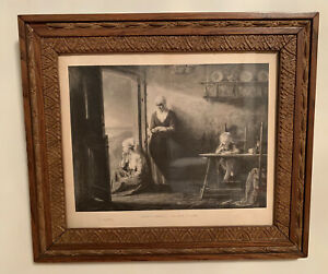 Antiques-Etching-Nach-Dem-Strum-Jozef-Israels-1824-1911-Wood-Framed-Glass