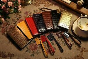 For LG Q8, G7, V40 /URBANWEST Crocodile Pattern Leather Handmade Cell Phone Case