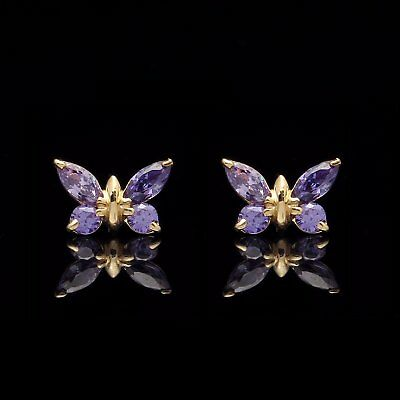 0.4ct Marquise Topaz /& Created Diamond Butterfly Earrings 14K Solid Yellow Gold