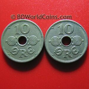 LOT-OF-2-DENMARK-1929-N-GJ-10-ORE-DANISH-COLLECTABLE-COINS-COPPER-NICKEL-18mm