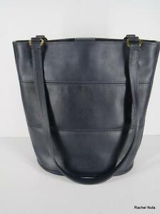Coach-Purse-Handbag-Bucket-Tote-Shoulder-Bag-Size-M-Blue-Leather-Long-Straps-USA