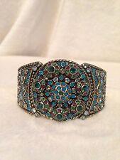 "Heidi Daus Blue And Green ""CAT'S PAJAMAS"" Crystal Encrusted Bracelet, S/M"