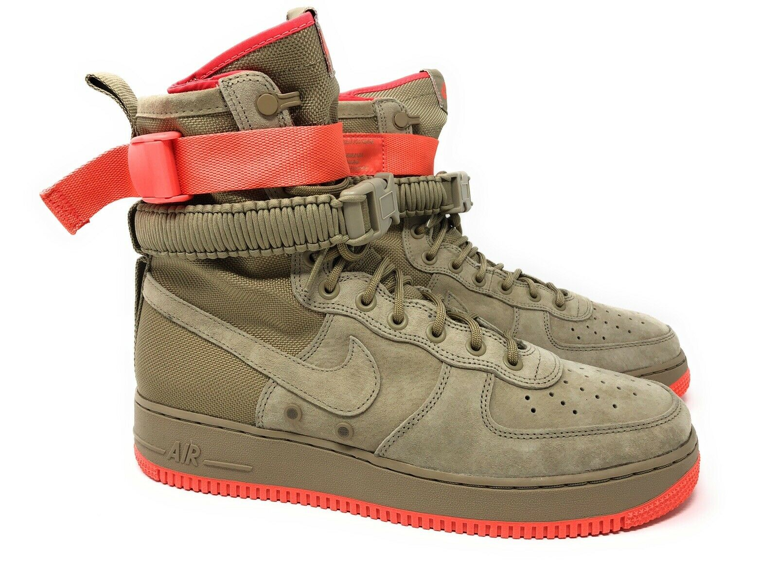 NIKE SF AF1 864024 205 KHAKI TAN RUSH CORAL PINK -SPECIAL FIELD AIR FORCE-STRAPS