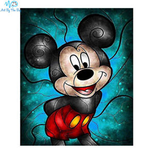 Mickey Mouse Diy 5d Diamond Painting Kit Disney Square Blue Stained Glass Ebay