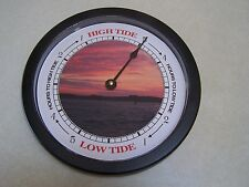 Tide Clock NC Red Sky Holden Beach Black Frame, tells you High or Low TIDE TIME