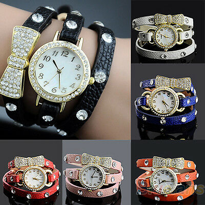 Vogue Women'S Crystal Bracelet Bow Leather Strap Chain Quartz Wrist Watch B39U