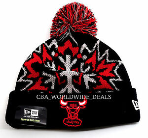 06bb6cf16ba New Era NBA Chicago Bulls Glowflake Glow in the Dark Knit Pom Beanie ...