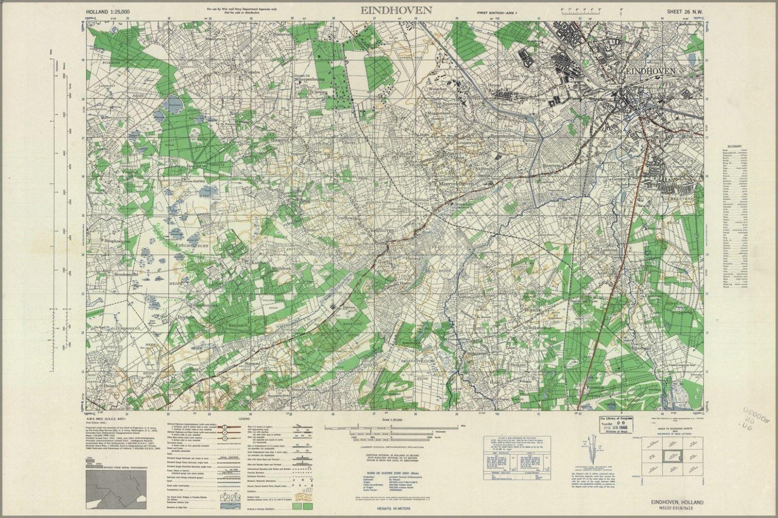 Plakat, Viele Größen; Eindhoven, Holland 1943 Us Army KKunste