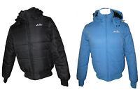 Ellesse Trivento Men's Hooded Warm Padded Winter Woven Jacket Coat-black- Blue