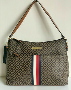 NEW-TOMMY-HILFIGER-SIGNATURE-LOGO-DARK-CHOCOLATE-BROWN-HOBO-PURSE-BAG-85-SALE