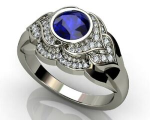 925-Silver-Rings-Women-Jewelry-Round-Cut-Blue-Sapphire-Wedding-Ring-Size-6-10