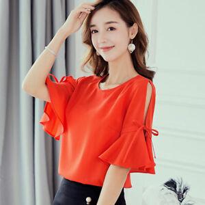 T-Shirt-Ladies-Fashion-Loose-Short-Sleeve-Women-Shirt-Chiffon-Summer-Blouse-Top