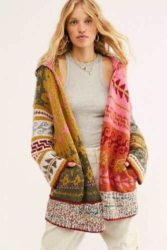 Free People Canyon Vibes Cardi Cardigan Patterns Size M//L Hooded NWT New
