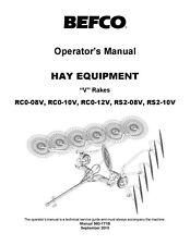 Befco Hay Equipment V Rakes Rc0 08v 10v 12v Rs2 08v 10v Operator Amp Parts Manual