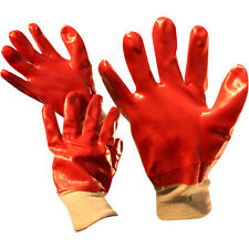 12 Pairs red pvc rubber safety builders work gloves protective construction diy