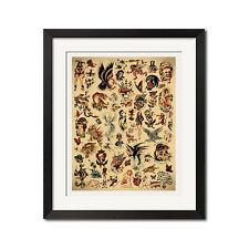 Sailor Jerry x Ed Hardy Old School Vintage Tattoo Flash #1 Poster Print