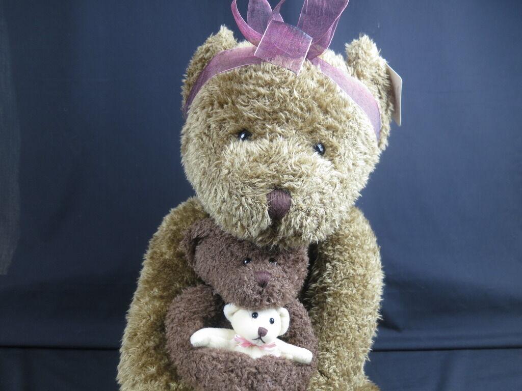 NEW JUMBO ANIMAL JUNCTION RUSS MAMA BEAR BABY & TEDDY BEAR braun PLUSH STUFFED