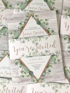 Details About Botanical Eucalyptus Gold Geometric Wedding Invite Belly Band Bundle