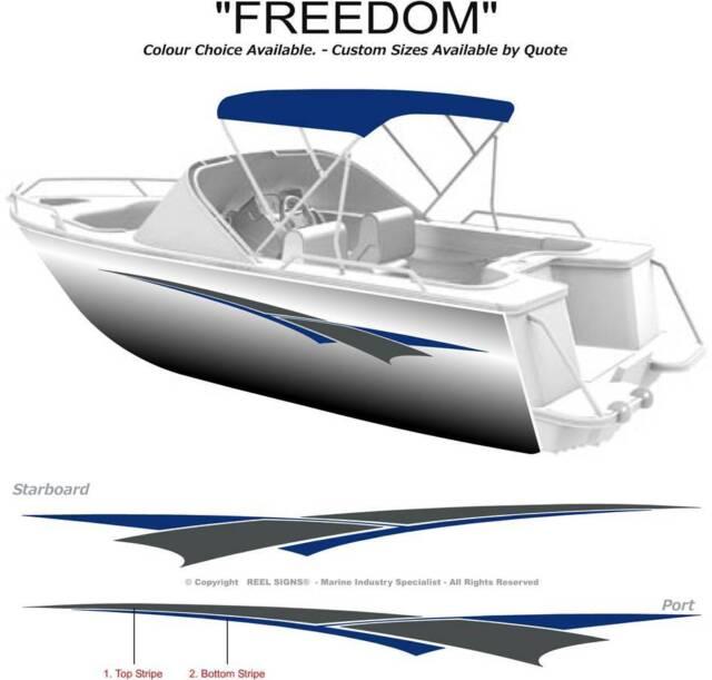 "BOAT GRAPHICS DECAL STICKER KIT ""FREEDOM -3200"" MARINE CAST VINYL"