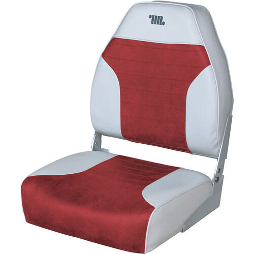 Gray Red Fishing Boat Seat Vinyl Padded Cushion Back Mounting Hardware Chair New