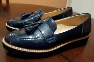 18a64f037823 Image is loading Naturalizer-Women-August-Blue-Patent-Platform-Loafer-Size-