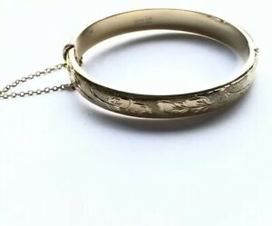 Vintage-1-20th-12CT-Rolled-Gold-Leaf-Pattern-Bracelet-Bangle-With-Safety-Chain