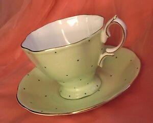 Royal Albert Lime Green Polka Dot Teacup& Saucer Bone China England Vintage1970s