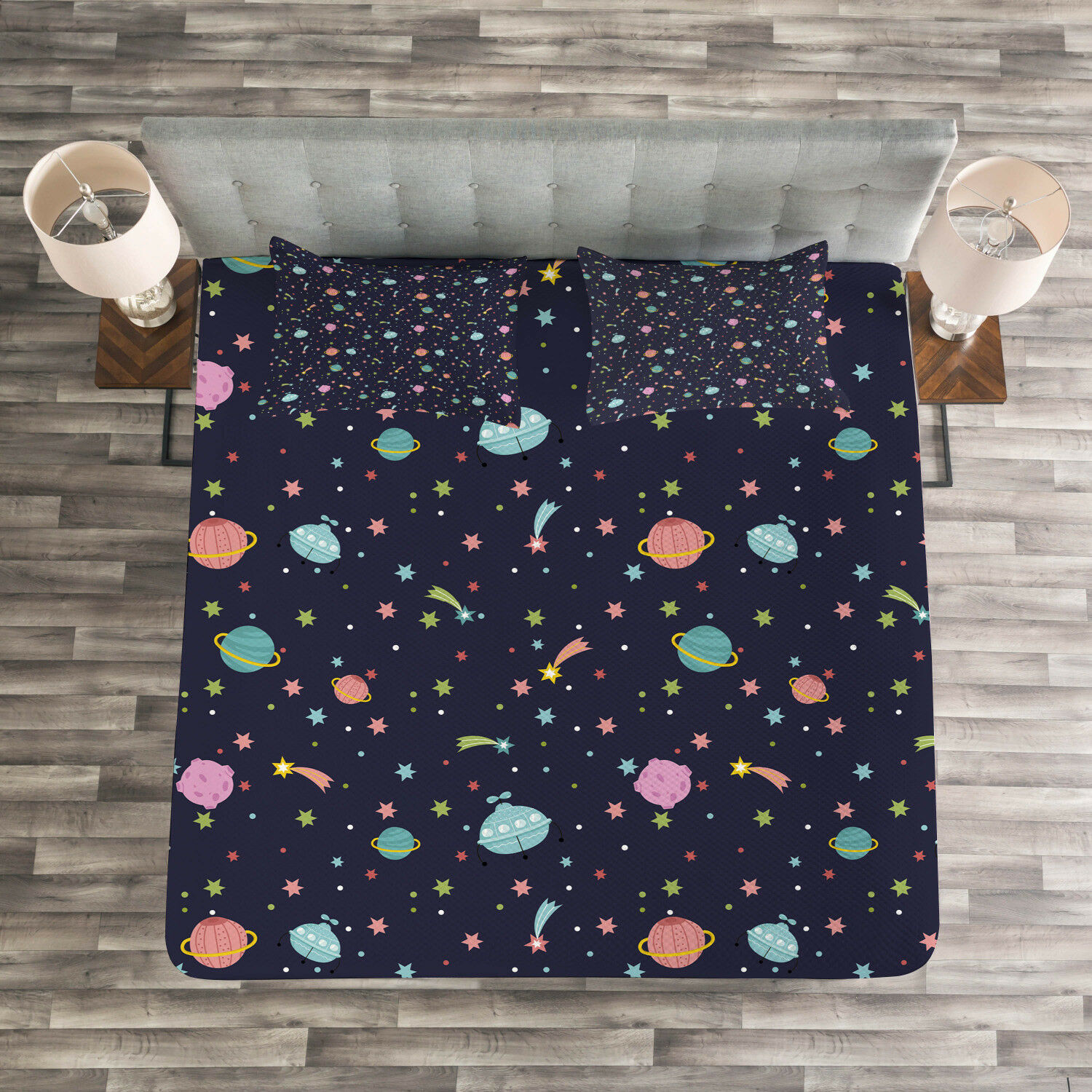 Space Quilted Bedspread & Pillow Shams Set, Alien Planets Asteroid Print