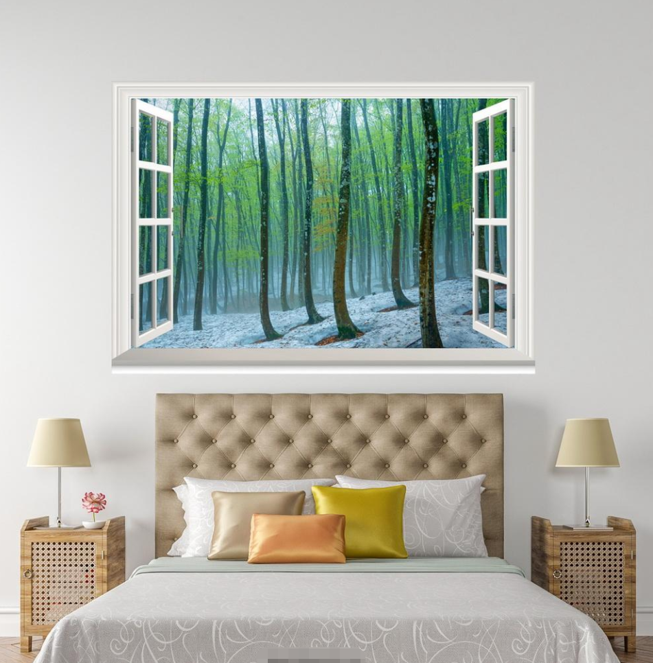 3D Forest Grün Plant 001 Open Windows WallPaper Murals Wall Print AJ Jenny